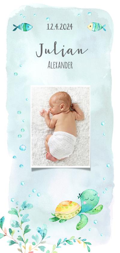 Geboortekaartjes - Geboortekaart jongen met schildpad en vissen