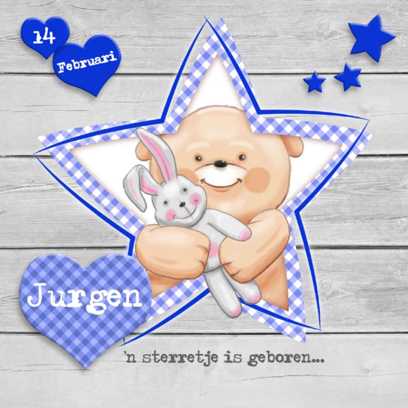 Geboortekaartjes - Geboortekaart jongen met sterren en knuffels