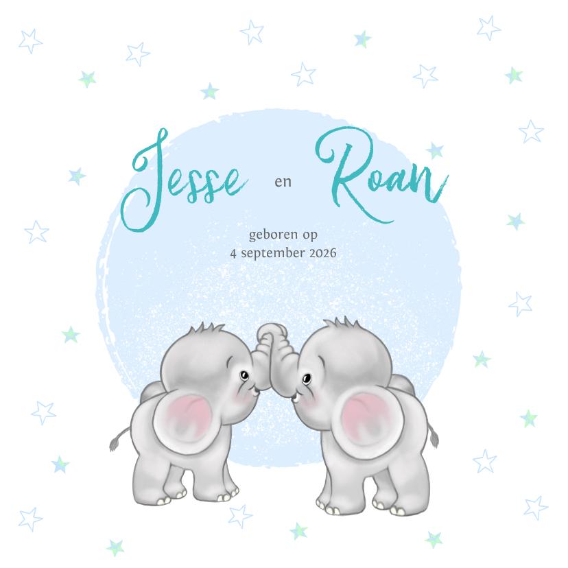 Geboortekaartjes - Geboortekaart jongen-tweeling olifantjes