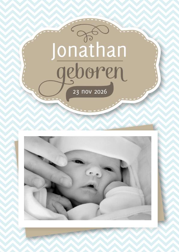 Geboortekaartjes - Geboortekaart jongen zigzag foto klassiek