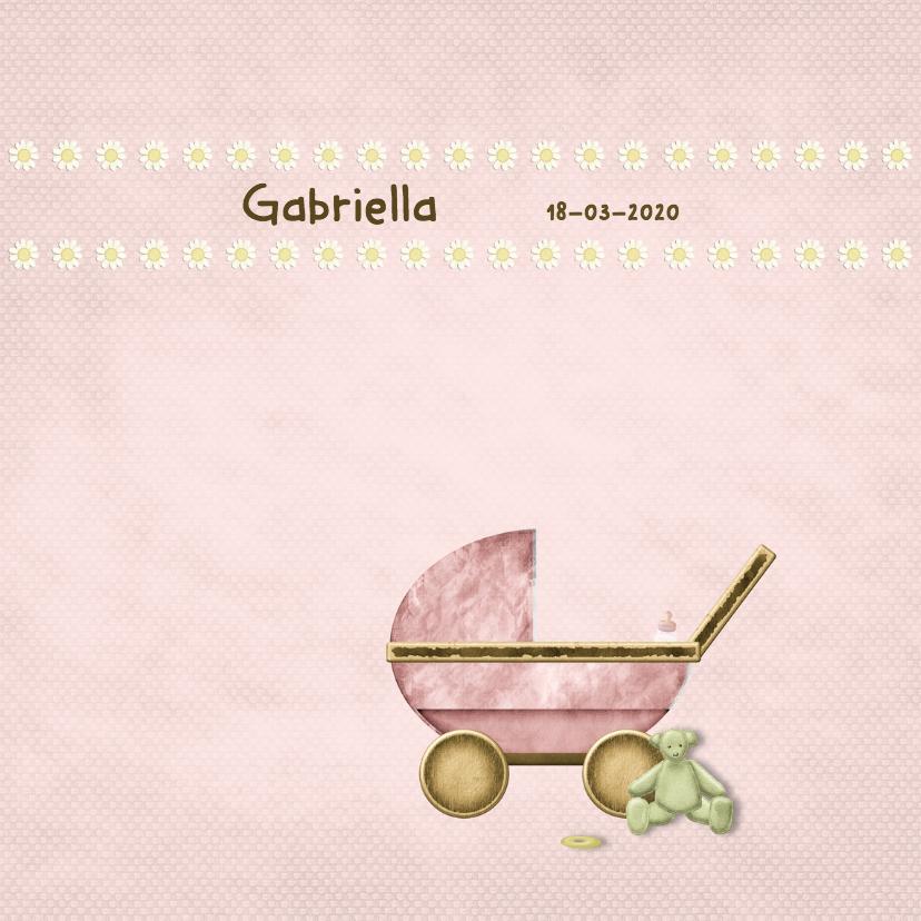 Geboortekaartjes - Geboortekaart kinderwagen meisje