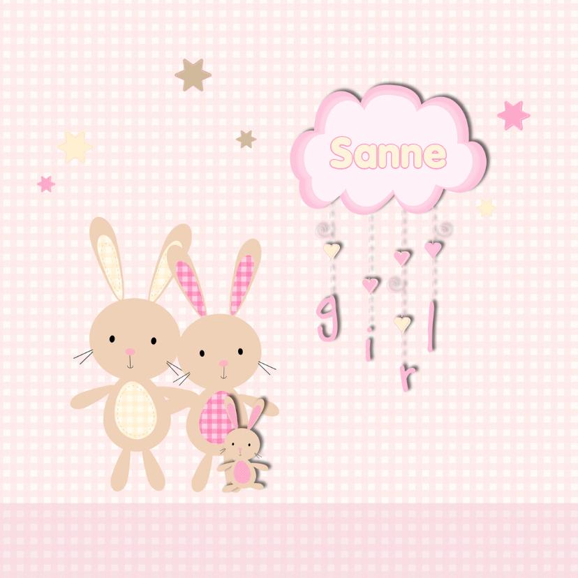 Geboortekaartjes - Geboortekaart konijn dochter