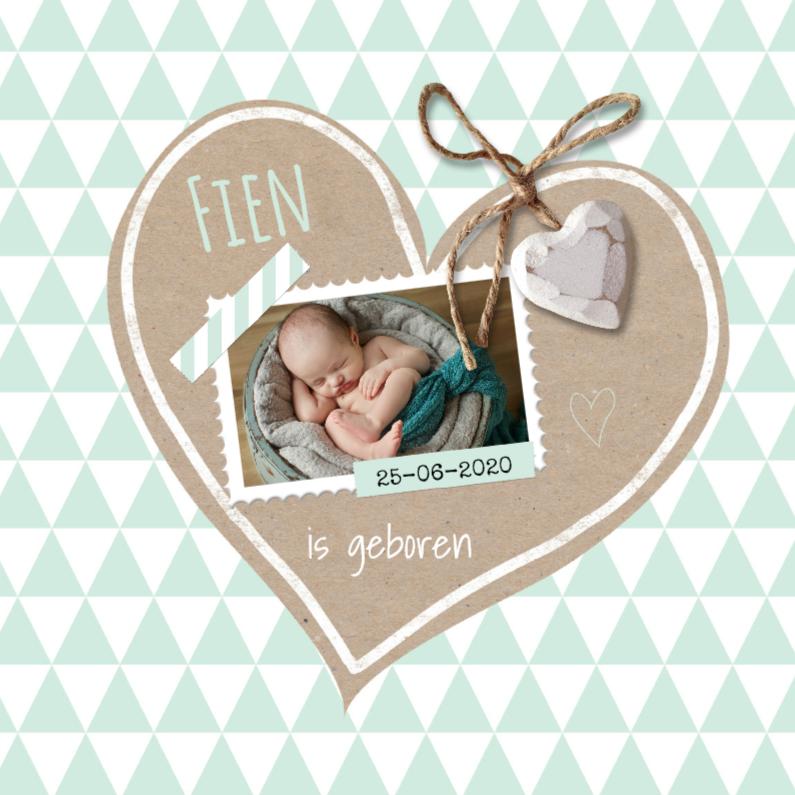 Geboortekaartjes - Geboortekaart krafthart mint