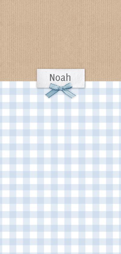 Geboortekaartjes - Geboortekaart langwerpig ruitjes kraft blauw - BC
