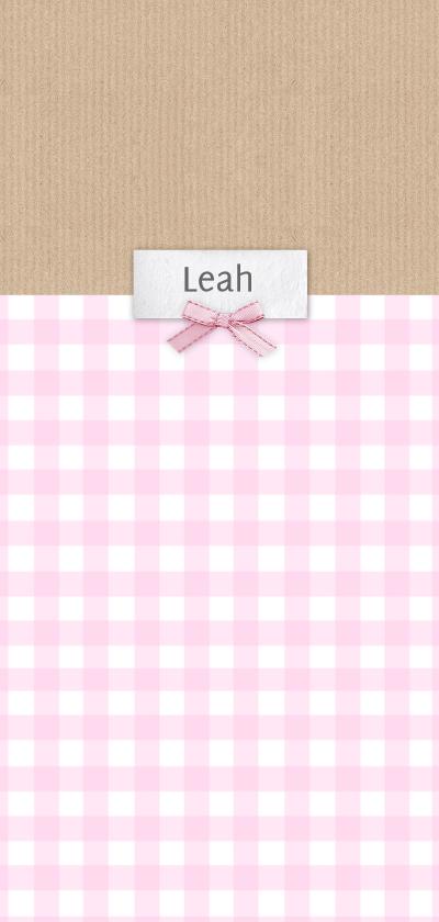 Geboortekaartjes - Geboortekaart langwerpig ruitjes kraft roze - BC