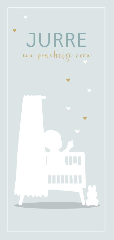 Geboortekaartjes - Geboortekaart ledikant jongen