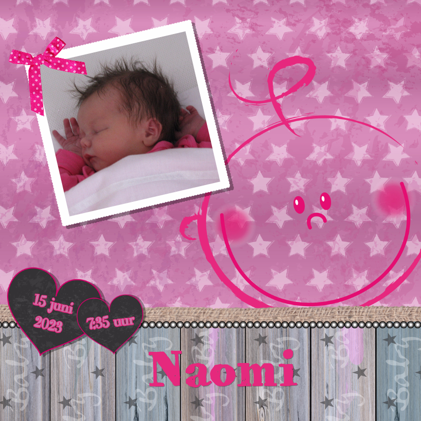 Geboortekaartjes - Geboortekaart lief meisje foto