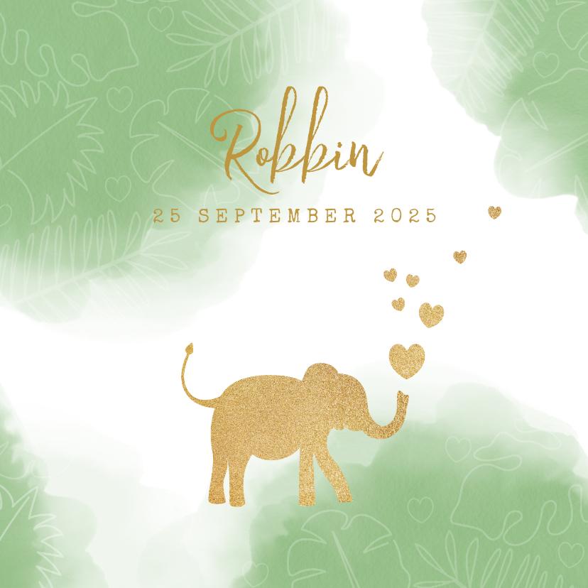 Geboortekaartjes - Geboortekaart lief waterverf silhouet olifant met hartjes.