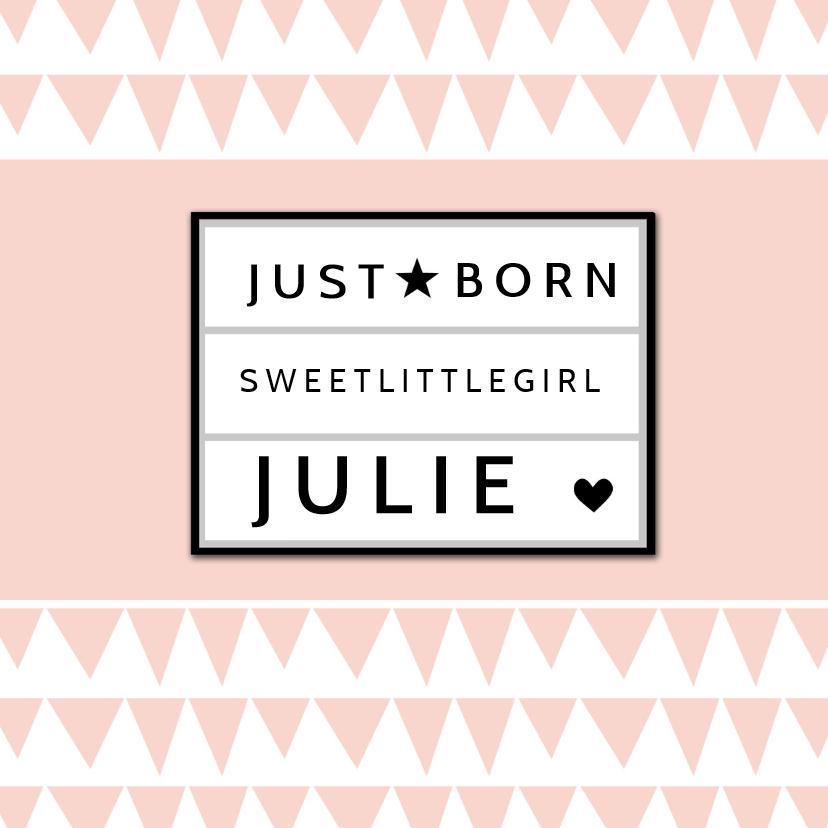 Geboortekaartjes - Geboortekaart lightbox roze - BC