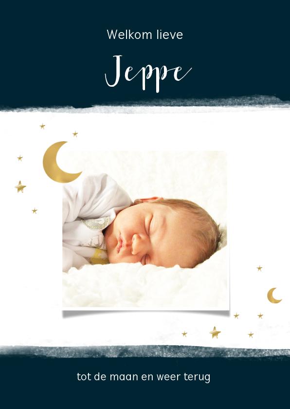 Geboortekaartjes - Geboortekaart maan en sterren, aanpasbare kleur