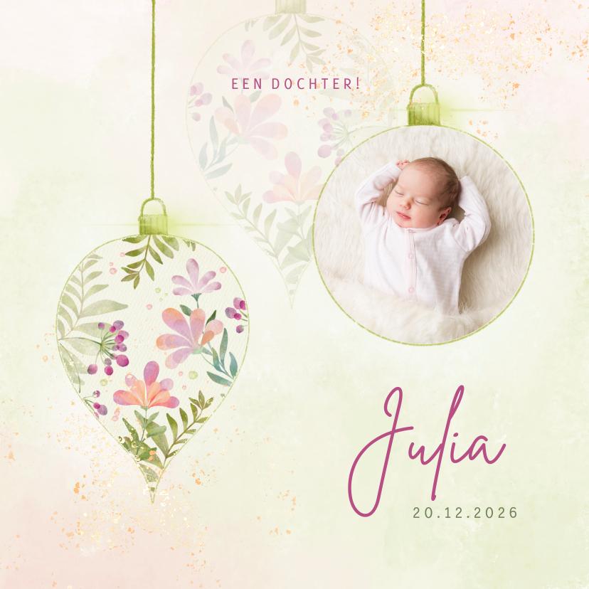 Geboortekaartjes - Geboortekaart meisje botanische ballen met foto