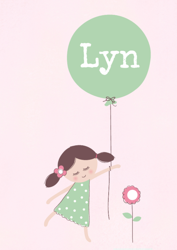 Geboortekaartjes - Geboortekaart Meisje en ballon