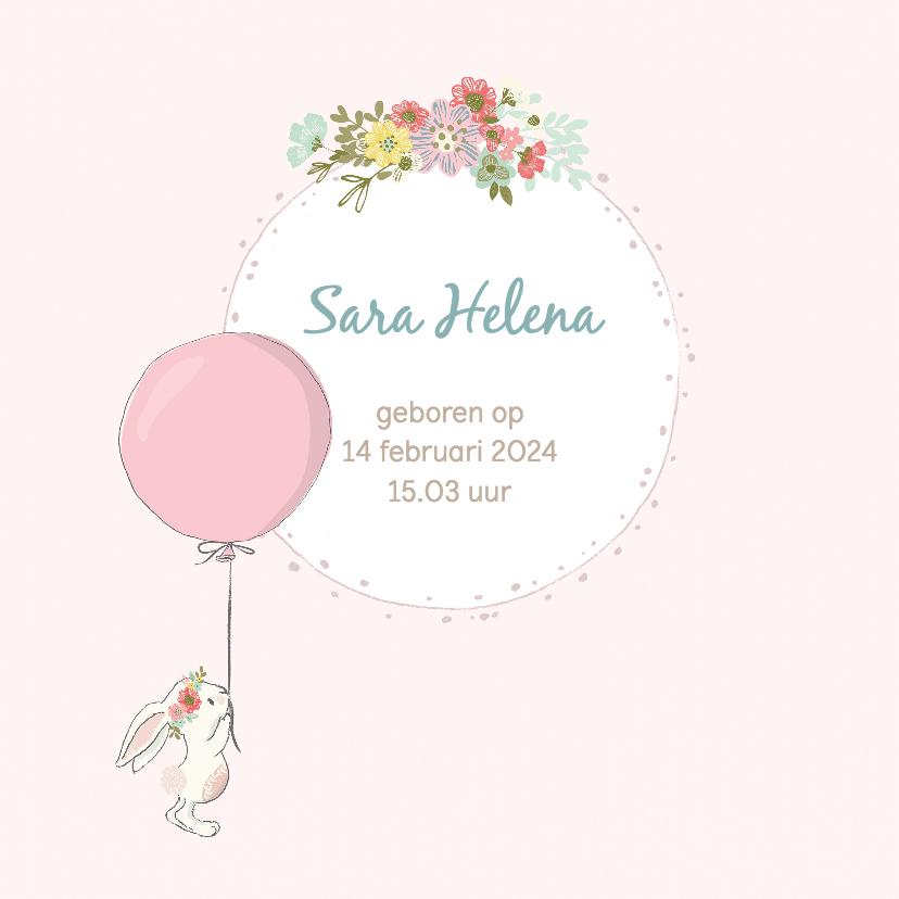 Geboortekaartjes - Geboortekaart meisje - konijn, ballon, bloemen