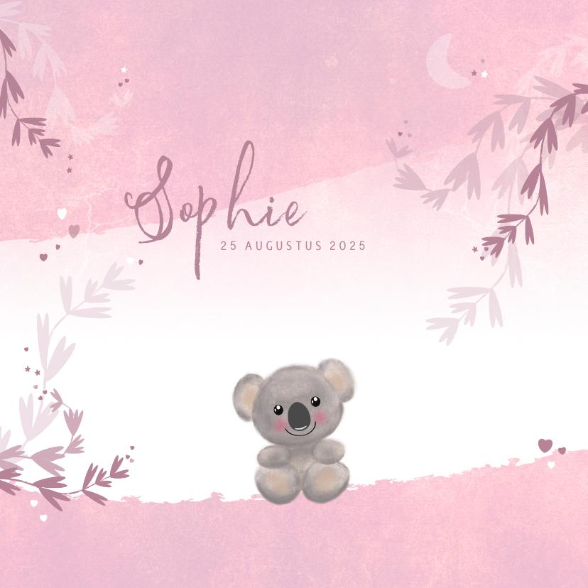 Geboortekaartjes - Geboortekaart meisje lief koalabeertje hartjes sterren maan