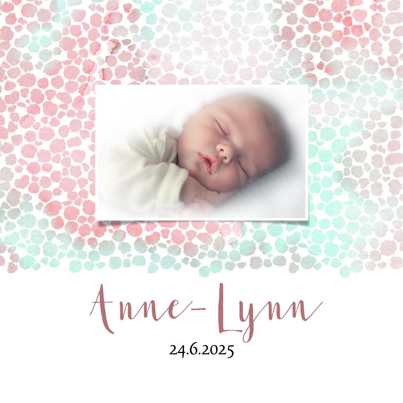 Geboortekaartjes - Geboortekaart meisje met dierenprint roze-groen