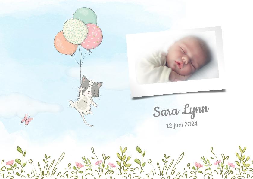 Geboortekaartjes - Geboortekaart meisje,  met kitten en ballonnen