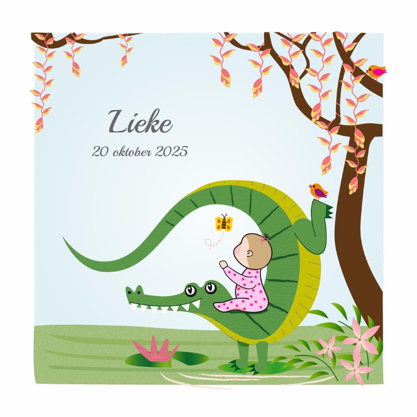 Geboortekaartjes - Geboortekaart meisje met krokodil