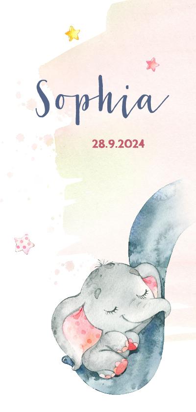 Geboortekaartjes - Geboortekaart meisje olifant op slurf