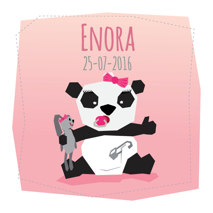 Geboortekaartjes - Geboortekaart Meisje - Panda