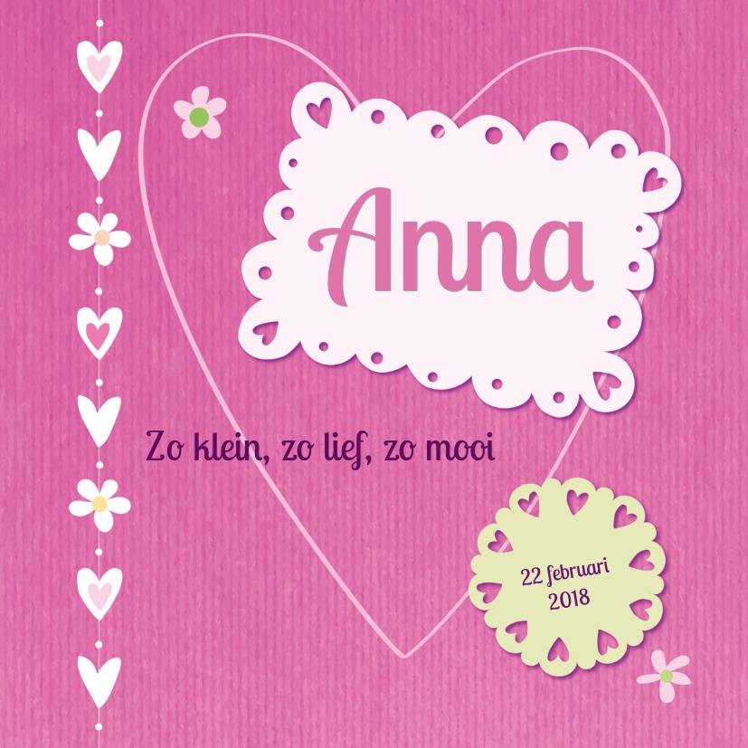 Geboortekaartjes - Geboortekaart meisje roze kraft