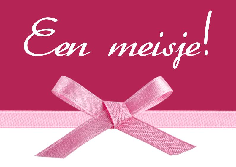 Geboortekaartjes - Geboortekaart meisje roze strik