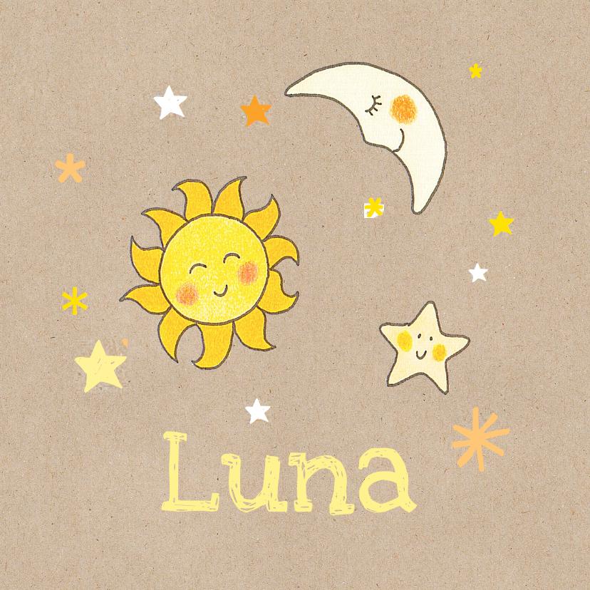 Geboortekaartjes - geboortekaart meisje ster, zon
