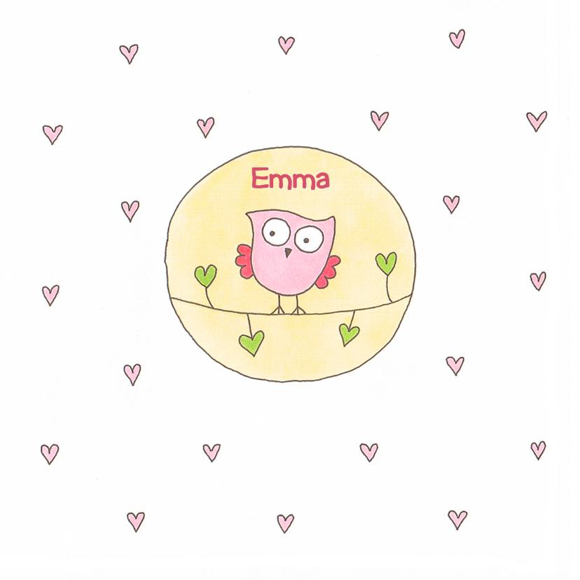 Geboortekaartjes - geboortekaart meisje uil cirkel
