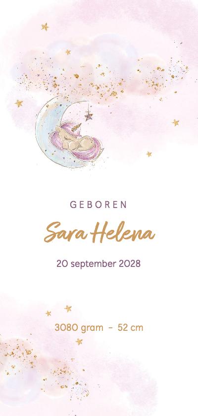 Geboortekaartjes - Geboortekaart meisje wolken,  glitters en eenhoorn