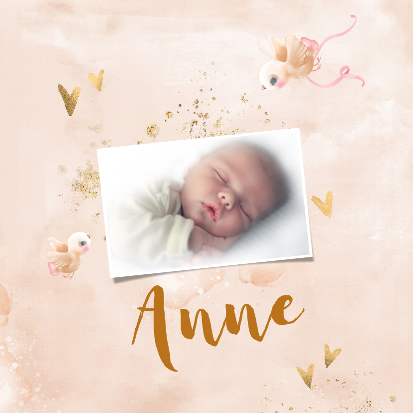 Geboortekaartjes - Geboortekaart meisje zalm-roze met gouden hartjes