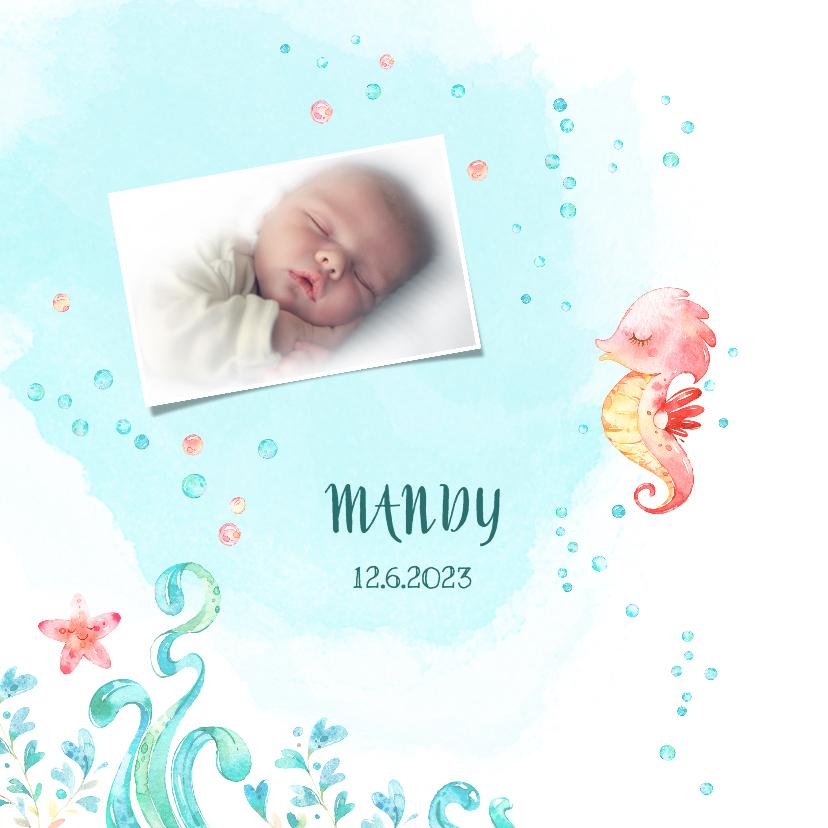 Geboortekaartjes - Geboortekaart meisje - zeepaardje