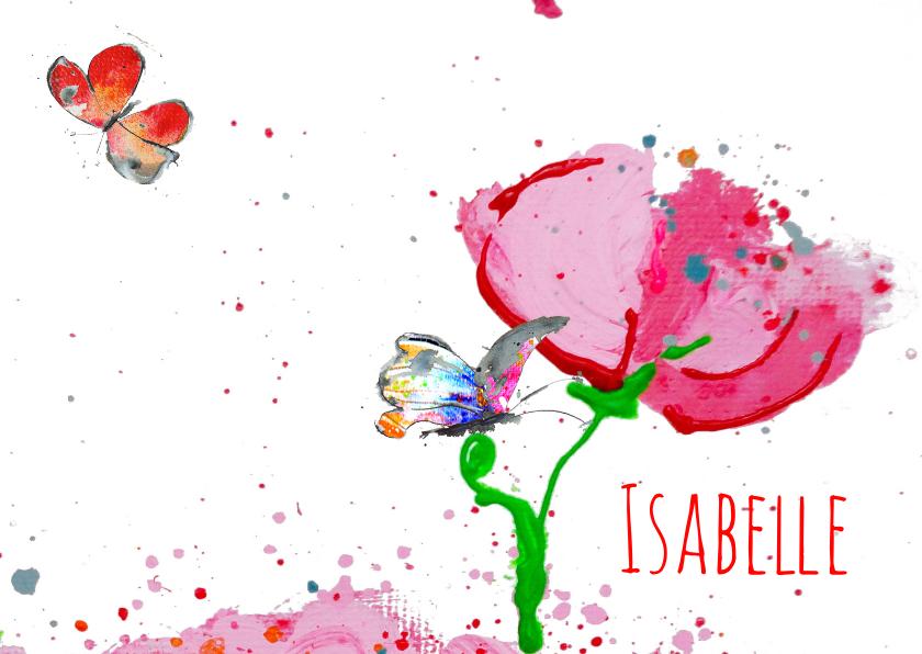Geboortekaartjes - Geboortekaart met bloem en vlinder