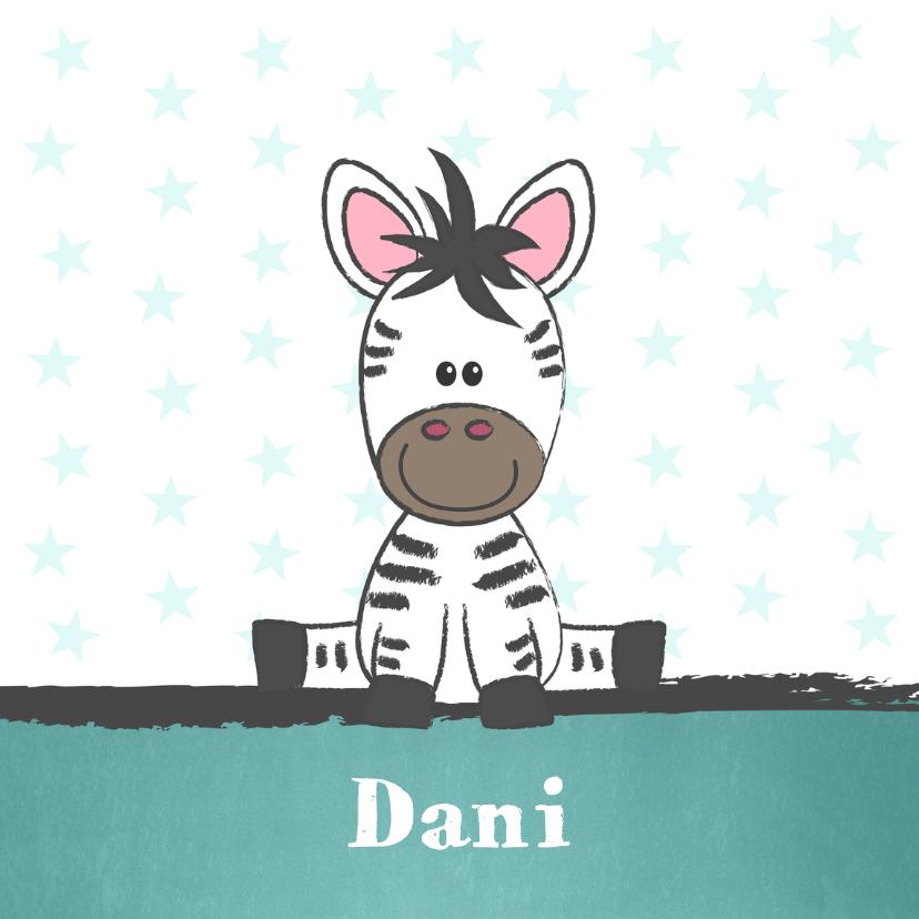 Geboortekaartjes - Geboortekaart met illustratie van een schattige baby zebra