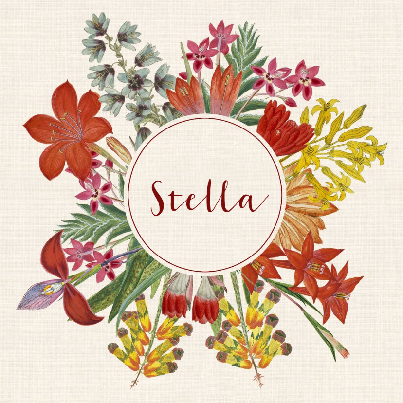 Geboortekaartjes - Geboortekaart met krans van vintage bloemen
