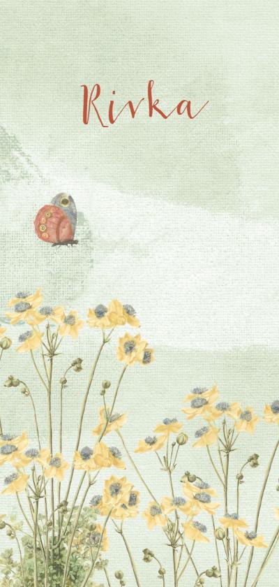 Geboortekaartjes - Geboortekaart met pastelkleurige bloemen en vlinder