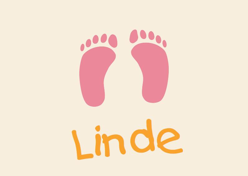 Geboortekaartjes - Geboortekaart met roze baby voetjes