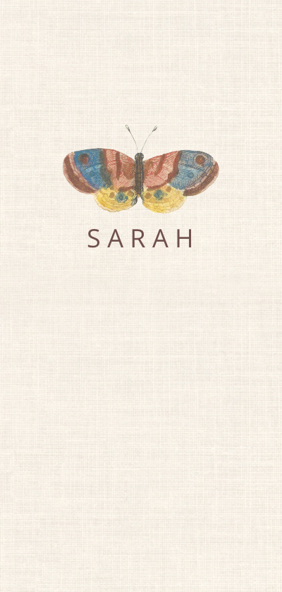 Geboortekaartjes - Geboortekaart met vintage afbeelding van vlinder