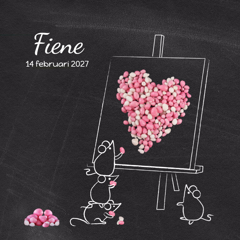 Geboortekaartjes - Geboortekaart muisjes roze hart
