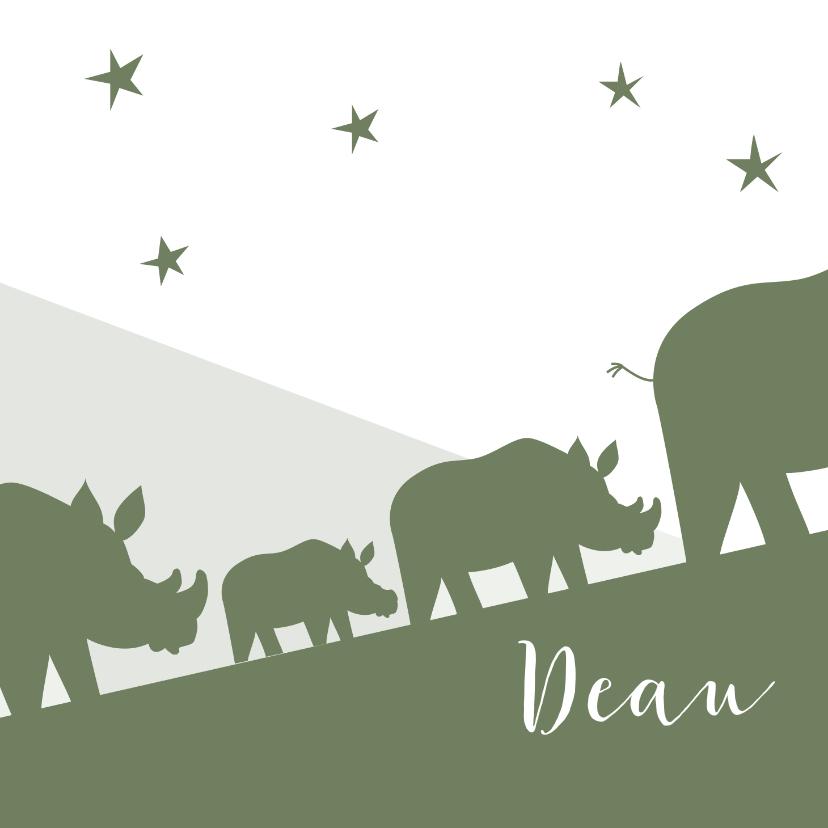 Geboortekaartjes - Geboortekaart neushoorn familie