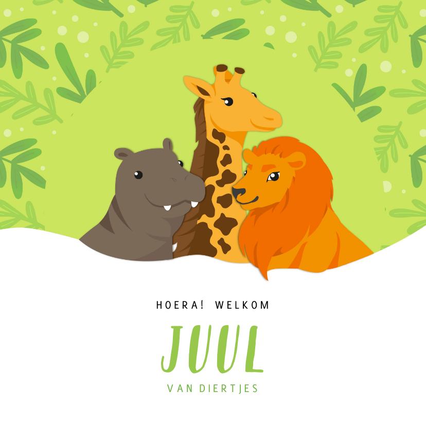 Geboortekaartjes - Geboortekaart Nijlpaard, giraf en leeuw groen