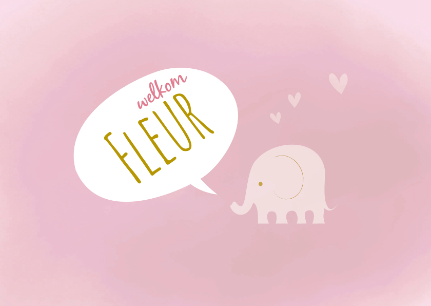 Geboortekaartjes - Geboortekaart-olif-verf-roze-PF