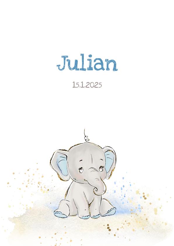 Geboortekaartjes - Geboortekaart olifant grijs-blauw jongen