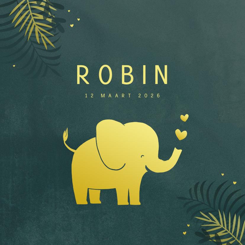 Geboortekaartjes - Geboortekaart olifant in goudlook