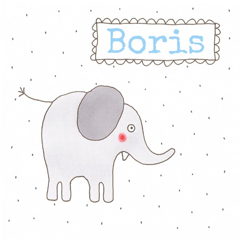 Geboortekaartjes - geboortekaart olifant jongen