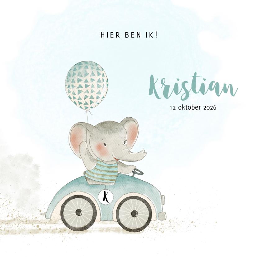 Geboortekaartjes - Geboortekaart olifant met ballon in auto