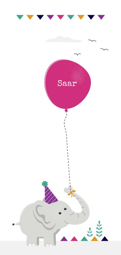 Geboortekaartjes - Geboortekaart olifant met roze ballon