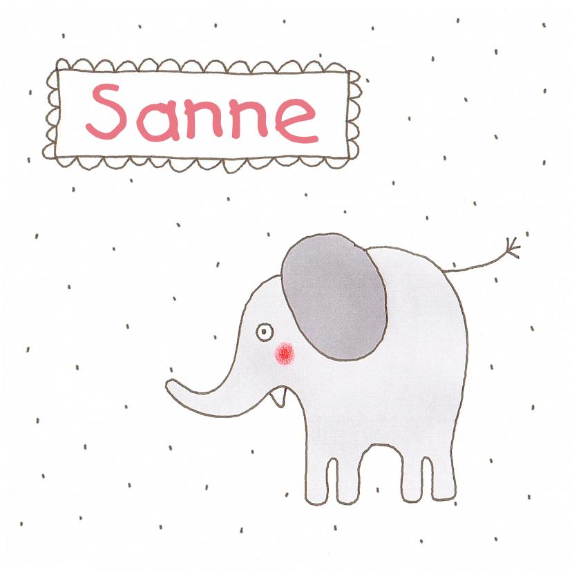 Geboortekaartjes - geboortekaart olifant stippen