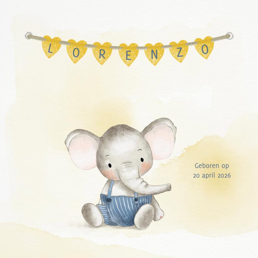 Geboortekaartjes - Geboortekaart olifantje jongen met naamhartjes
