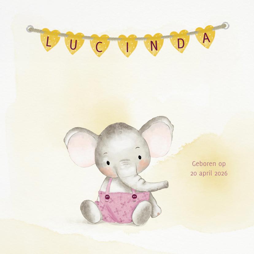 Geboortekaartjes - Geboortekaart olifantje meisje met naamhartjes