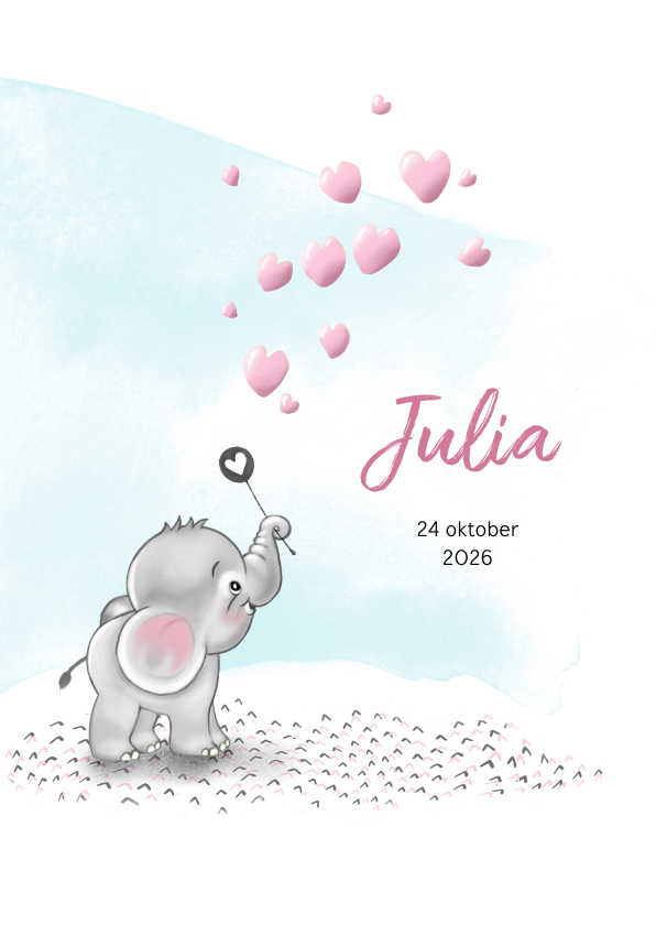 Geboortekaartjes - Geboortekaart olifantje met hartjes-bellenblaas