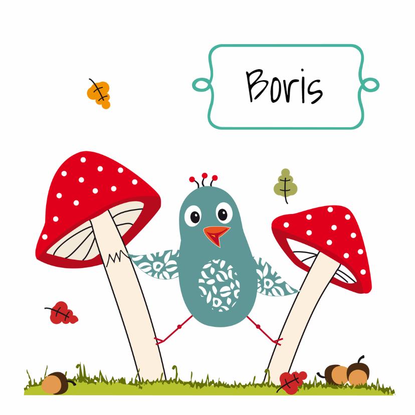 Geboortekaartjes - geboortekaart paddenstoel jongen